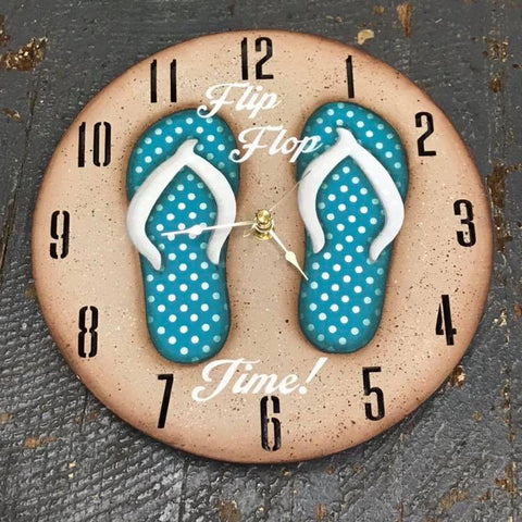 "9"" Round Beach Wooden Flip Flop Clock Painted Turquoise White Polka Dot"