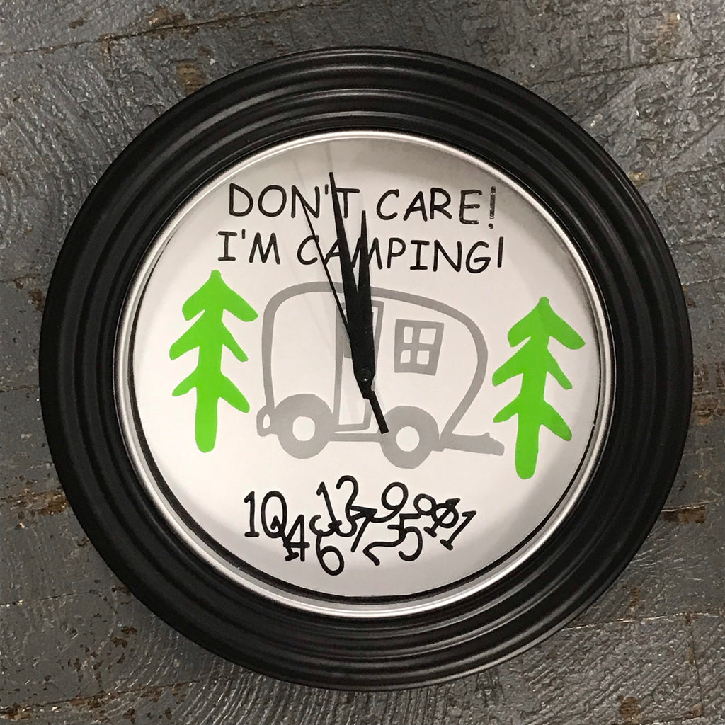 "11.5"" Round Ready to Hang Camper Camping Clock Don't Care I'm Camping Silver"