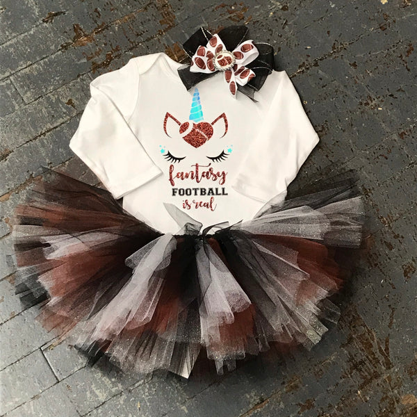 Unicorn Fantasy Football Onesie Bodysuit One Piece Newborn Infant Toddler Outfit Tutu Hair Bow Set