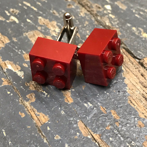 Lego Brick 2x2 Block Maroon Burgundy Cuff Links Wedding Groom Suit Tux