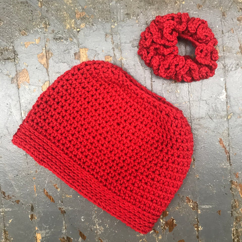Crocheted Pony Tail Hole Messy Bun Beanie Winter Hat Cap Red