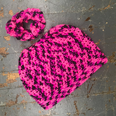 Crocheted Pony Tail Hole Messy Bun Beanie Winter Hat Cap Hot Pink Black