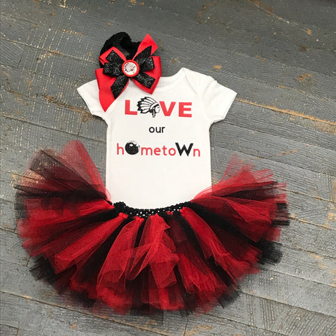 Indian School Mascot LOVE Our Hometown Onesie Bodysuit One Piece Newborn Infant Toddler Outfit Tutu Hair Bow Set