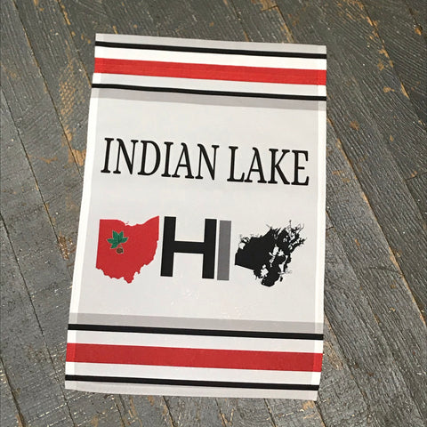 Indian Lake Map Ohio State Stripe Garden Flag Kevin Campbell