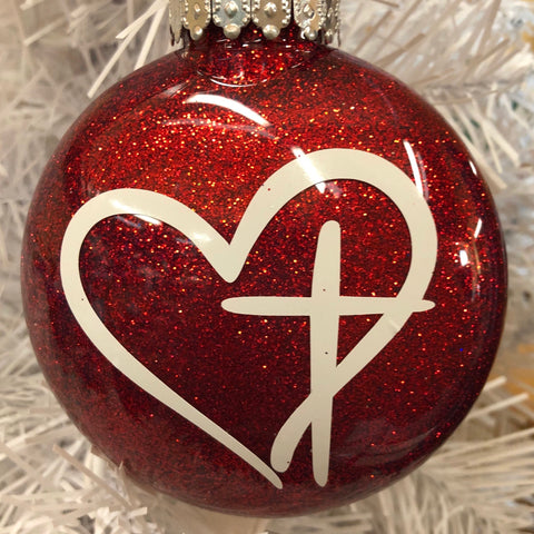 Holiday Christmas Tree Ornament Heart Cross