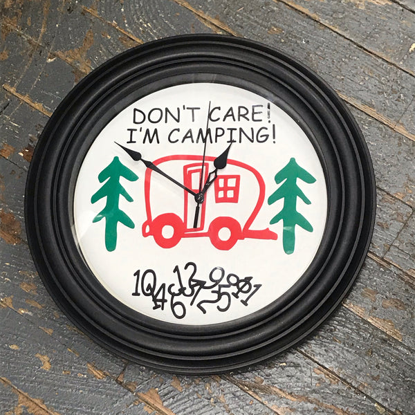 "11.5"" Round Ready to Hang Camper Camping Clock Don't Care I'm Camping Red"