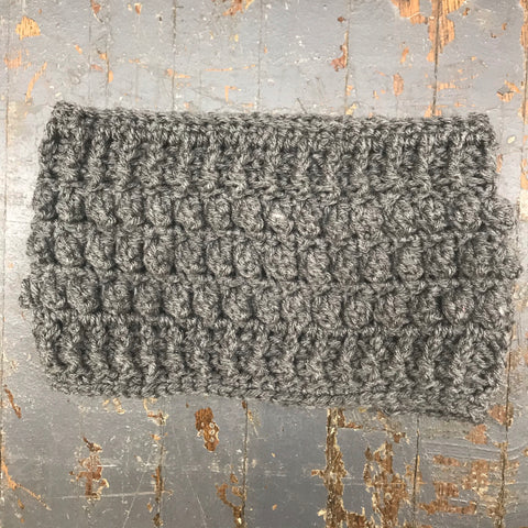 Crocheted Headband Winter Earmuff Grey Extra Wide Band