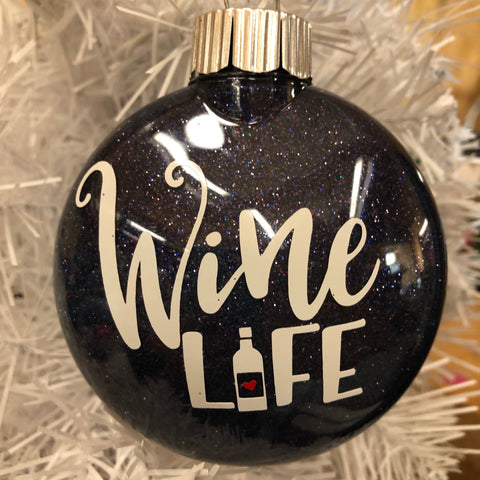 Holiday Christmas Tree Ornament Wine Time