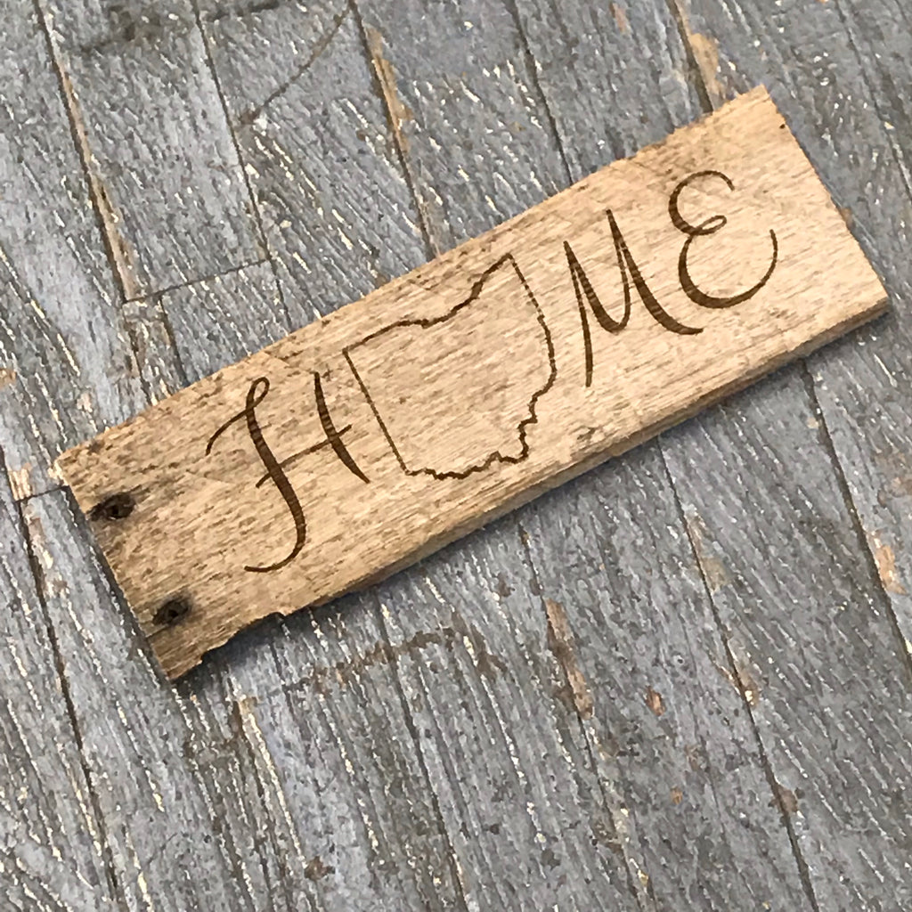 Laser Engraved Reclaimed Wood Ohio Home Sign