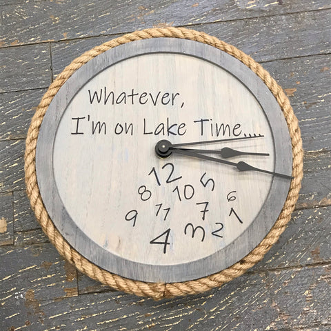 "10"" Round Nautical Wooden Jute Cord Lake Time Clock Painted Grey Tones"