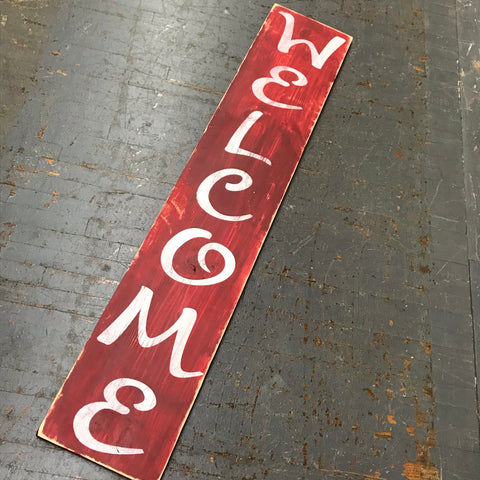 "Hand Painted Wooden Sign Primitive Rustic Welcome 60"" Red"
