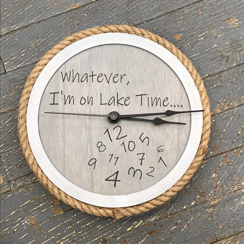 "10"" Round Nautical Wooden Jute Cord Lake Time Clock Painted White Washed"