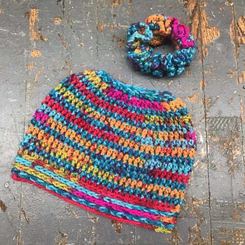Crocheted Pony Tail Hole Messy Bun Beanie Winter Hat Cap Bright Jewel Tone Multi Color