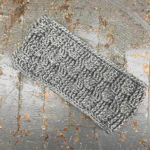 Crocheted Headband Winter Earmuff Grey Basket Weave Band