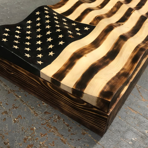 Waving Wood Burned American Flag Dimensional Secret Storage Safe