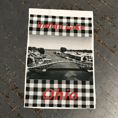 Indian Lake Ohio Russells Point Sandy Beach Bridge Black White Plaid Garden Flag Kevin Campbell