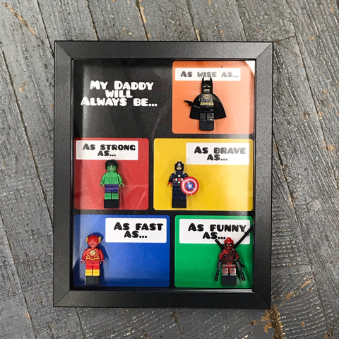 My Daddy Will Always Be Superhero Character Comic Lego Figurine Wall Display Picture Frame Toy Art