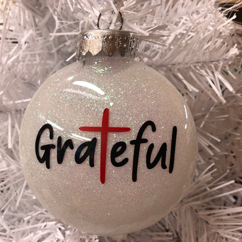 Holiday Christmas Tree Ornament Grateful