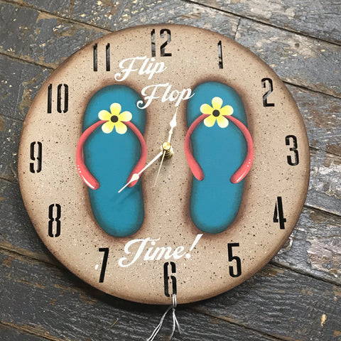 "9"" Round Beach Wooden Flip Flop Clock Painted Teal Yellow Flower"