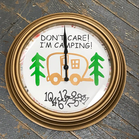 "11.5"" Round Ready to Hang Camper Camping Clock Don't Care I'm Camping Gold"
