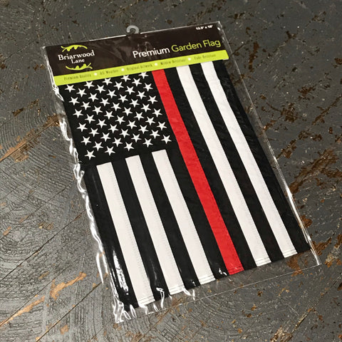 American Flag Embroidered Stars Thin Red Line Fire EMS Garden Flag
