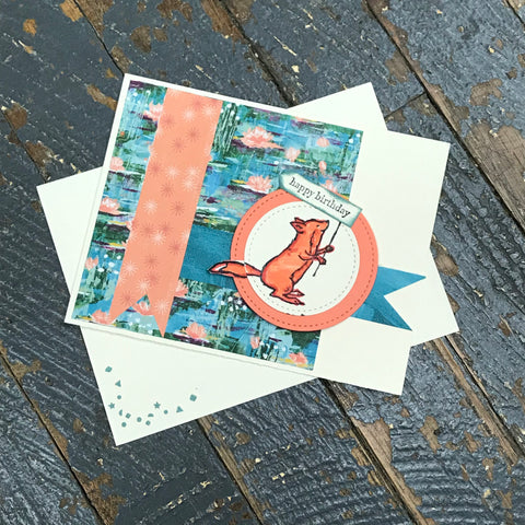 Happy Birthday Fox Handmade Stampin Up Greeting Card with Envelope