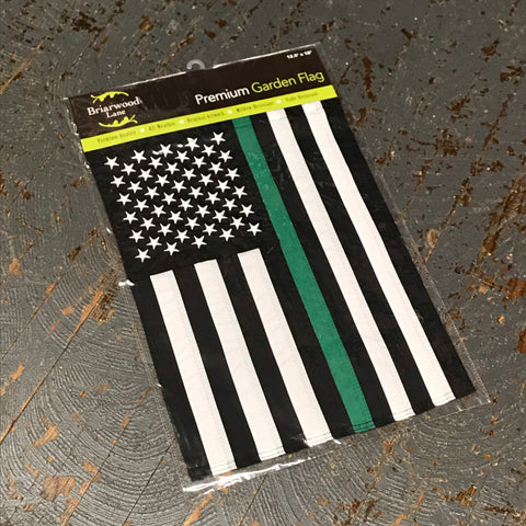 American Flag Embroidered Stars Thin Green Line Military Garden Flag