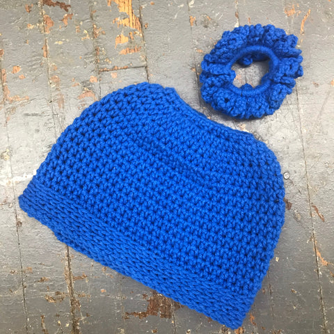 Crocheted Pony Tail Hole Messy Bun Beanie Winter Hat Cap Blue