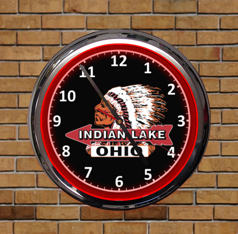 "15"" Round Indian Head Indian Lake Ohio Neon Light Clock"
