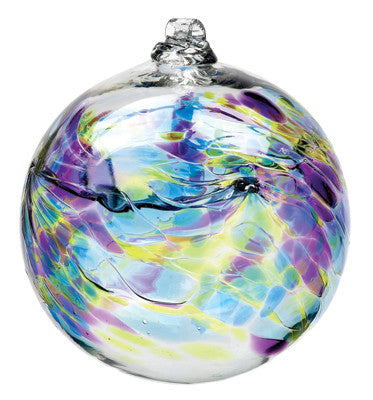 Hand Blown Glass Ornament Globe September Birthday Orb Ball by Kitras Art Glass