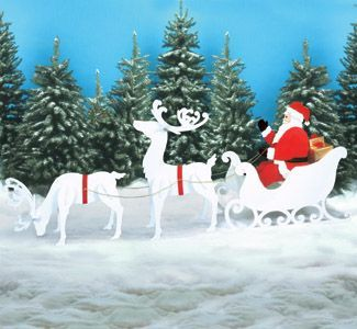 Outdoor Christmas Display Santa Sleigh Reindeer Set