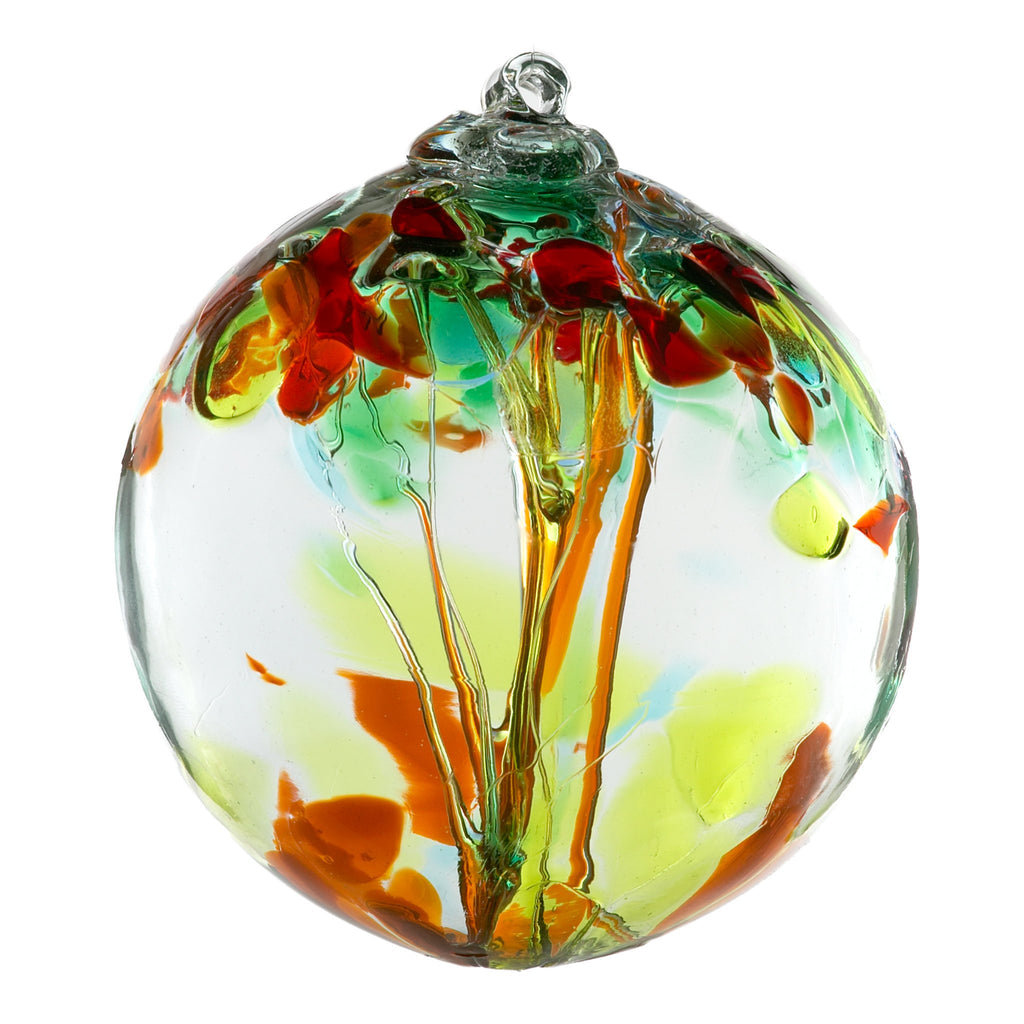 Hand Blown Glass Ornament Globe Sisters Tree of Enchantment Orb Ball by Kitras Art Glass