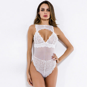 Erotic White Front Keyhole Scallop Women Hot Sexy Women Lingerie