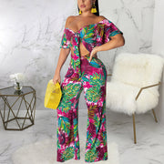 Off Shoulder Chest Knot Design Wide Leg Pants Sexy Two Piece Set