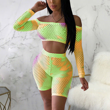 Off Shoulder Crop Top And Shorts 2 Piece Set - WazzalaLifestyle
