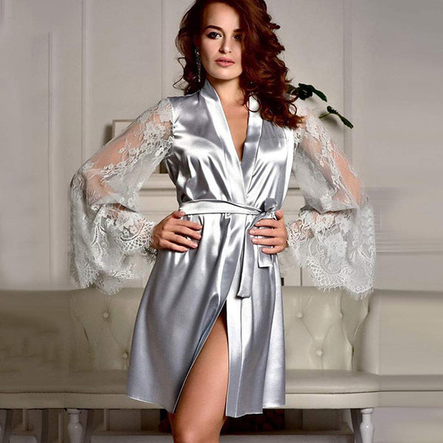 Smooth Satin Transparent Long Sleeve Sexy Pajamas