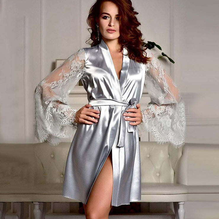 Smooth Satin Transparent Long Sleeve Sexy Pajamas - WazzalaLifestyle