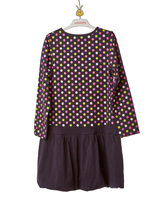 Girls Black and Polka Dot Above Knee Dress