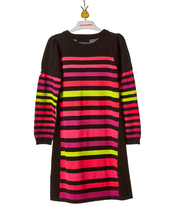 Girls Black and Striped Above Knee Knit Dress