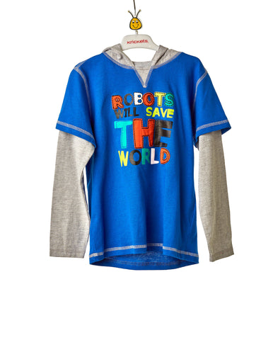 Boys Blue And Grey Long Sleeve Top With Hoodie