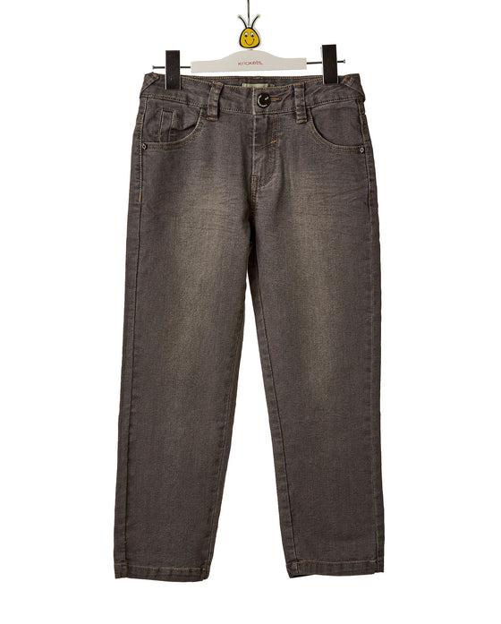 Boys Grey Denim Slim Leg Pants