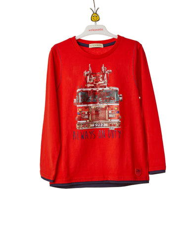 Boys Red Long Sleeve T-Shirt