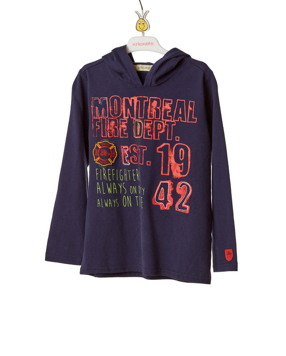 Boys Navy Blue Long Sleeve T-Shirt With Hoodie