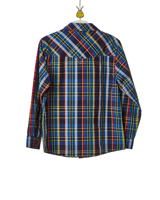 Boys Checkered Long Sleeve Button Down Shirt