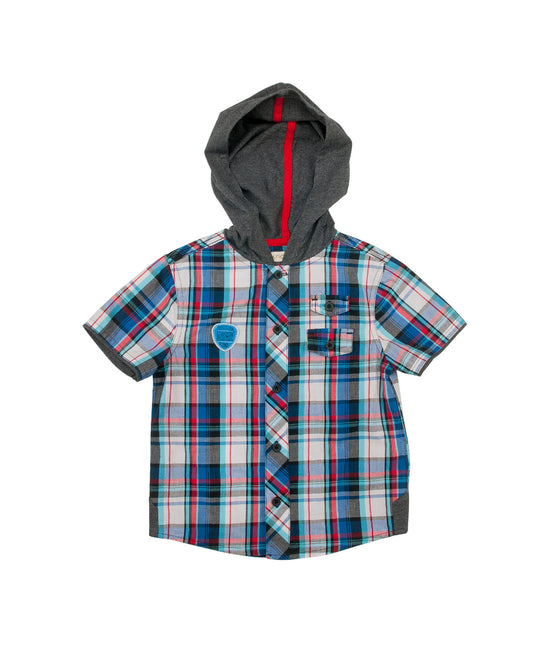 Boys Hooded Checkered Shirt