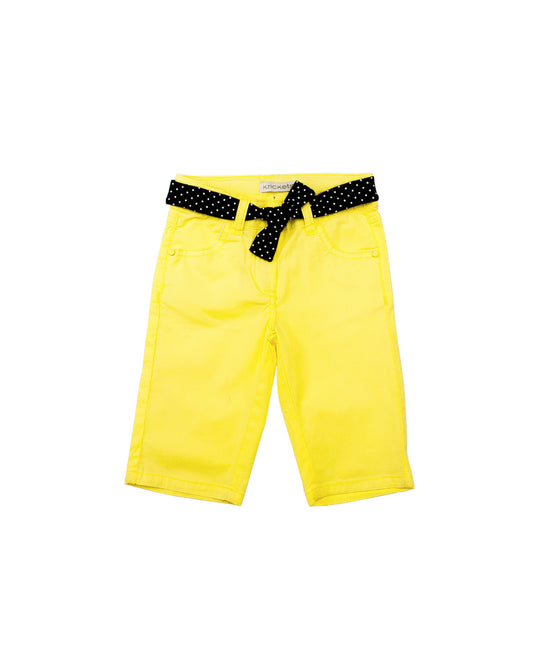 Girls Polka Dot Yellow Bermuda