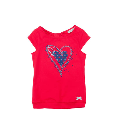 Girls Red Screen Print Top