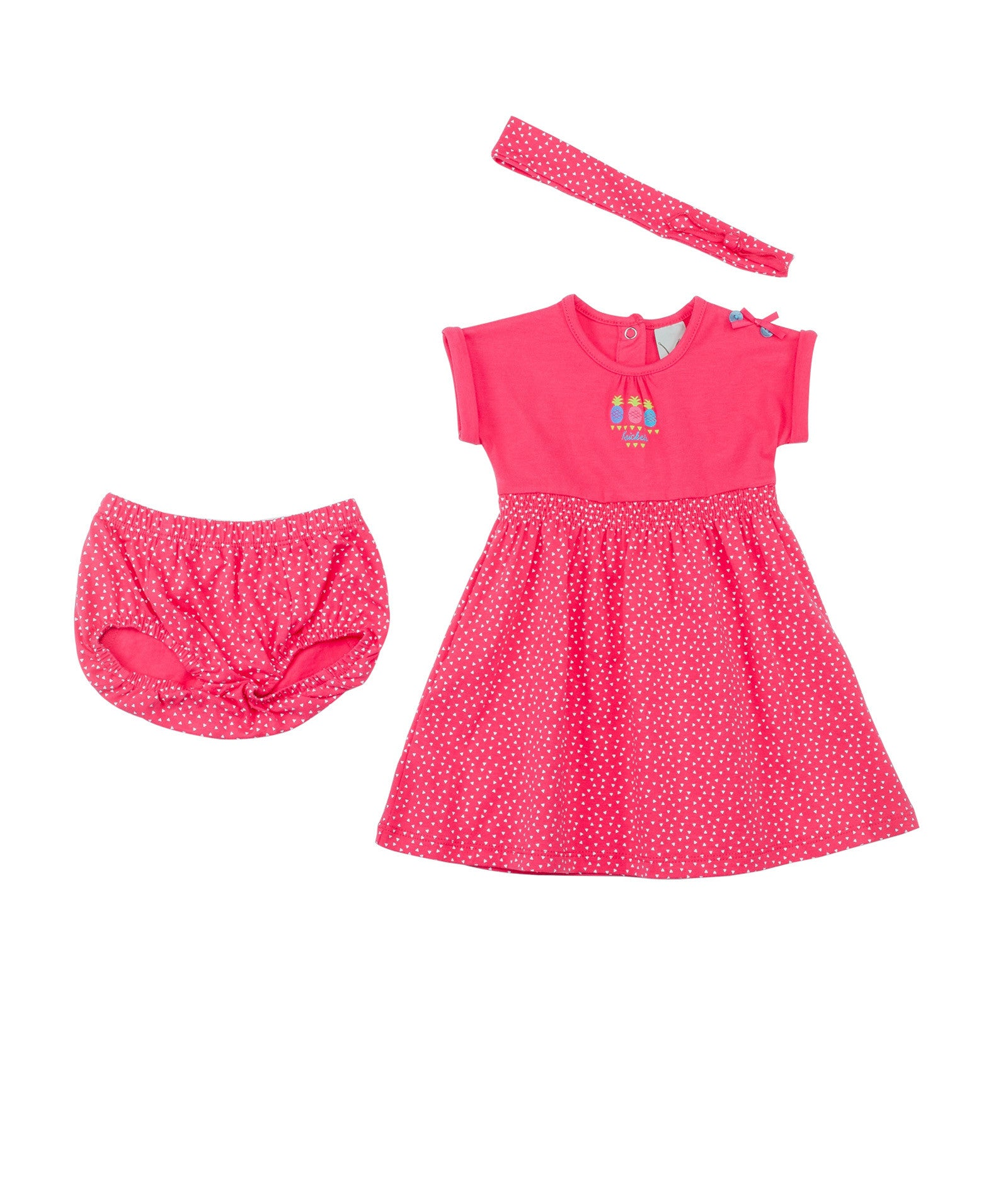 Baby Girls Pink Dress With Headband and Boomer – Krickets