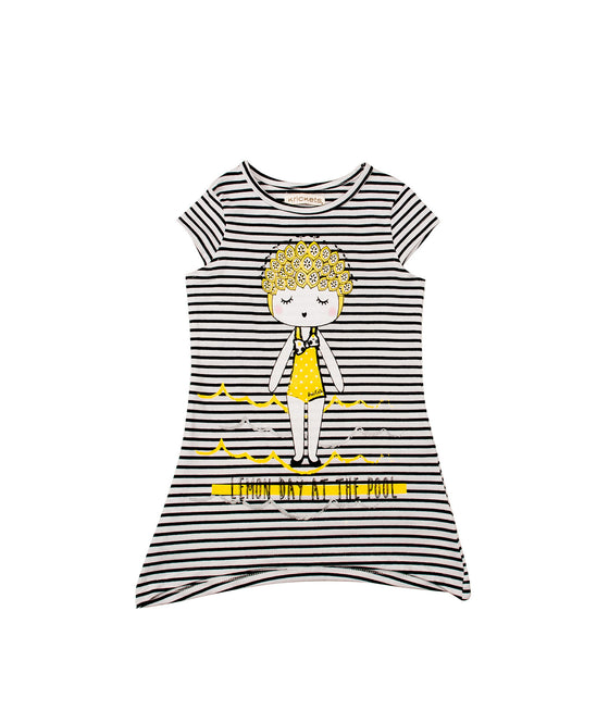Girls Screen Print Striped Tunic