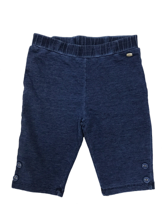 Girls Denim knit jersey capri with buttons at bottom opening